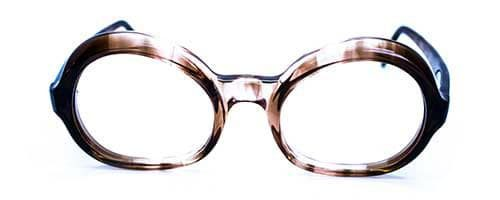 Ladies Nearly Round Brown Smoke Plastic Frame