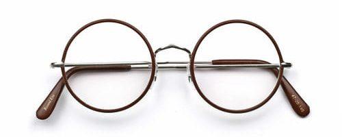 Savile Row Round Eye Rhodium Windsor Leather Brown
