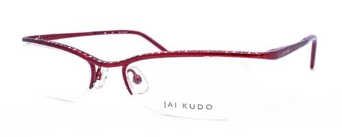 Jai Kudo 466 Ladies red half rim frame 1