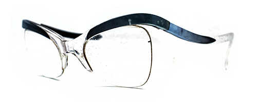 Blue marbled upswept 50's semi rimless 1